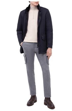 Мужские шерстяные брюки-карго KITON серого цвета, арт. UFPPCAK01T88   Фото 2