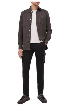 Мужские шерстяные брюки-карго KITON темно-коричневого цвета, арт. UFPPCAK01T88 | Фото 2 (Материал подклада: Купро; Длина (брюки, джинсы): Стандартные; Материал внешний: Шерсть; Силуэт М (брюки): Карго; Случай: Повседневный; Стили: Кэжуэл)