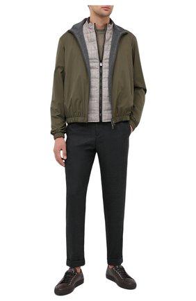 Мужской шерстяные брюки KITON темно-зеленого цвета, арт. UFPLACK01T52 | Фото 2