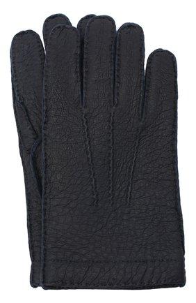 Мужские кожаные перчатки LUCIANO BARBERA темно-синего цвета, арт. 127012/80122 | Фото 1