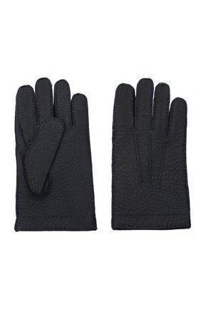 Мужские кожаные перчатки LUCIANO BARBERA темно-синего цвета, арт. 127012/80122 | Фото 2