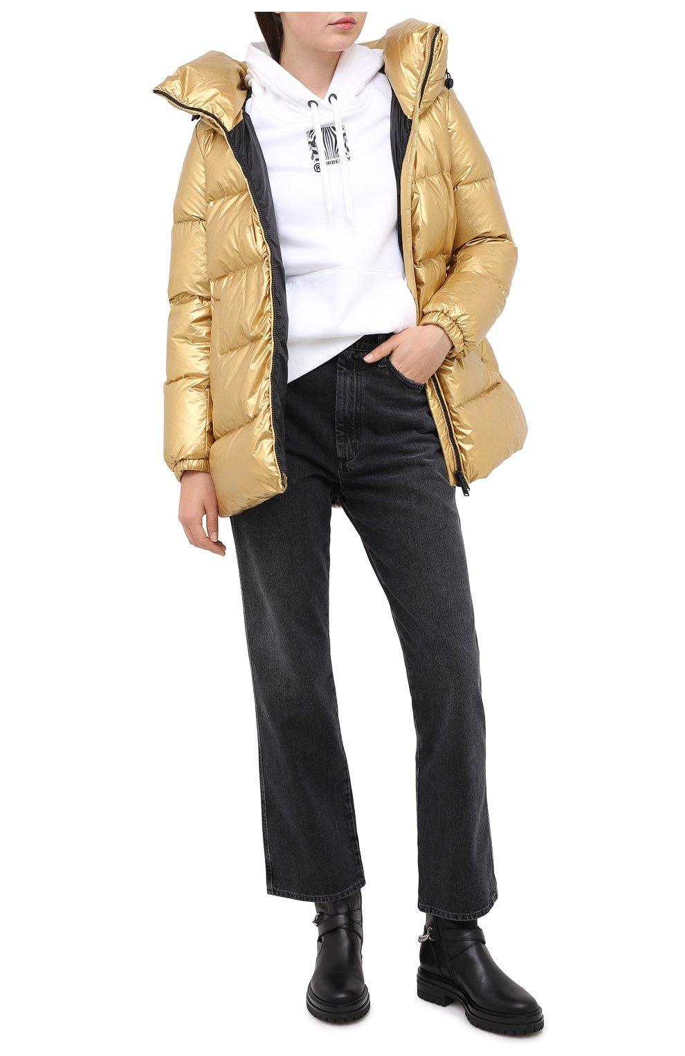Женский пуховик ADD золотого цвета, арт. 2AWAM30 | Фото 2 (Рукава: Длинные; Материал внешний: Синтетический материал; Кросс-КТ: Пуховик; Материал подклада: Синтетический материал; Длина (верхняя одежда): Короткие)