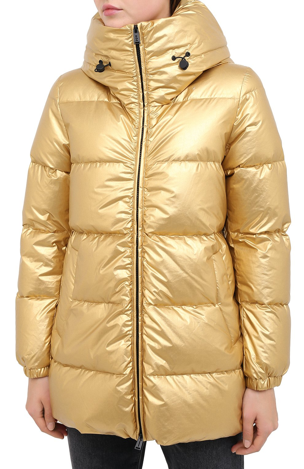 Женский пуховик ADD золотого цвета, арт. 2AWAM30 | Фото 3 (Рукава: Длинные; Материал внешний: Синтетический материал; Кросс-КТ: Пуховик; Материал подклада: Синтетический материал; Длина (верхняя одежда): Короткие)