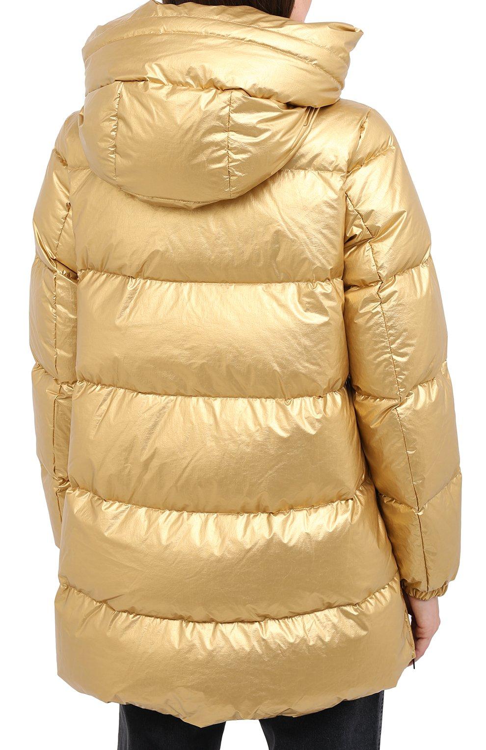 Женский пуховик ADD золотого цвета, арт. 2AWAM30 | Фото 4 (Рукава: Длинные; Материал внешний: Синтетический материал; Кросс-КТ: Пуховик; Материал подклада: Синтетический материал; Длина (верхняя одежда): Короткие)