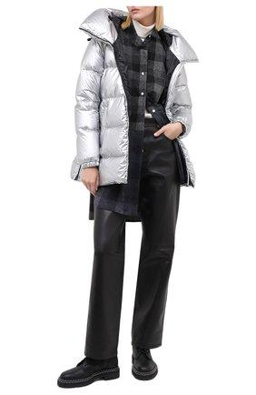 Женский пуховик ADD серебряного цвета, арт. 2AWAM30 | Фото 2 (Длина (верхняя одежда): Короткие; Рукава: Длинные; Материал подклада: Синтетический материал; Материал внешний: Синтетический материал; Кросс-КТ: Пуховик)