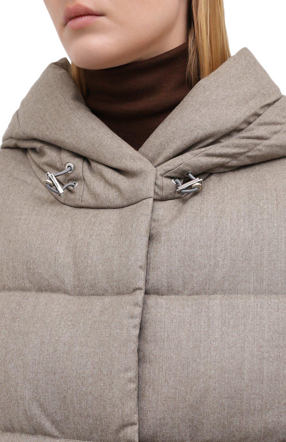 Женский пуховик ADD бежевого цвета, арт. 2AWA49P   Фото 5 (Материал внешний: Шерсть; Рукава: Длинные; Длина (верхняя одежда): До колена; Кросс-КТ: Пуховик; Материал подклада: Синтетический материал)