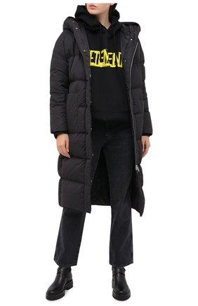 Женский пуховик ADD черного цвета, арт. 2AW444 | Фото 2 (Длина (верхняя одежда): До колена; Материал подклада: Синтетический материал; Материал внешний: Синтетический материал; Рукава: Длинные; Кросс-КТ: Пуховик)