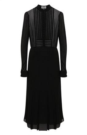 Женское шелковое платье SAINT LAURENT черного цвета, арт. 636000/Y059R | Фото 1