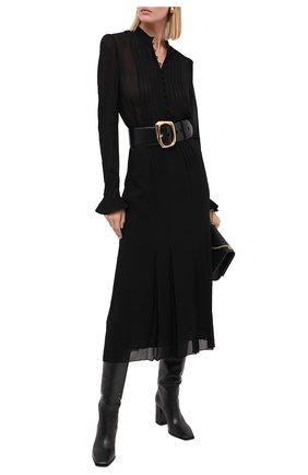 Женское шелковое платье SAINT LAURENT черного цвета, арт. 636000/Y059R | Фото 2