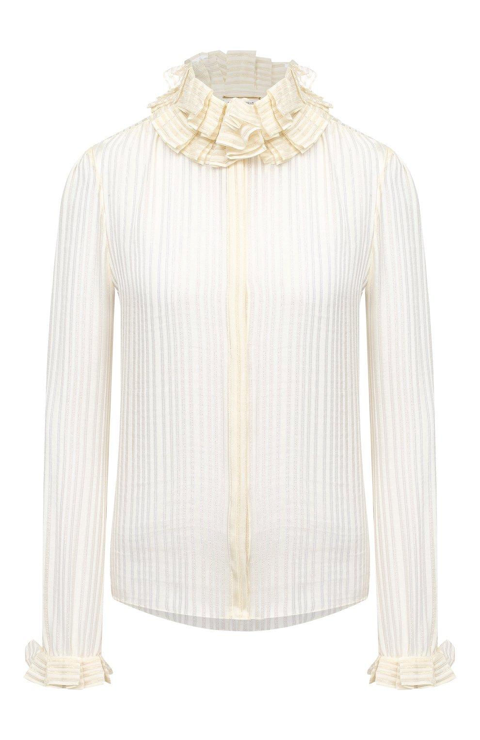 Женская шелковая блузка SAINT LAURENT белого цвета, арт. 633387/Y3B43   Фото 1