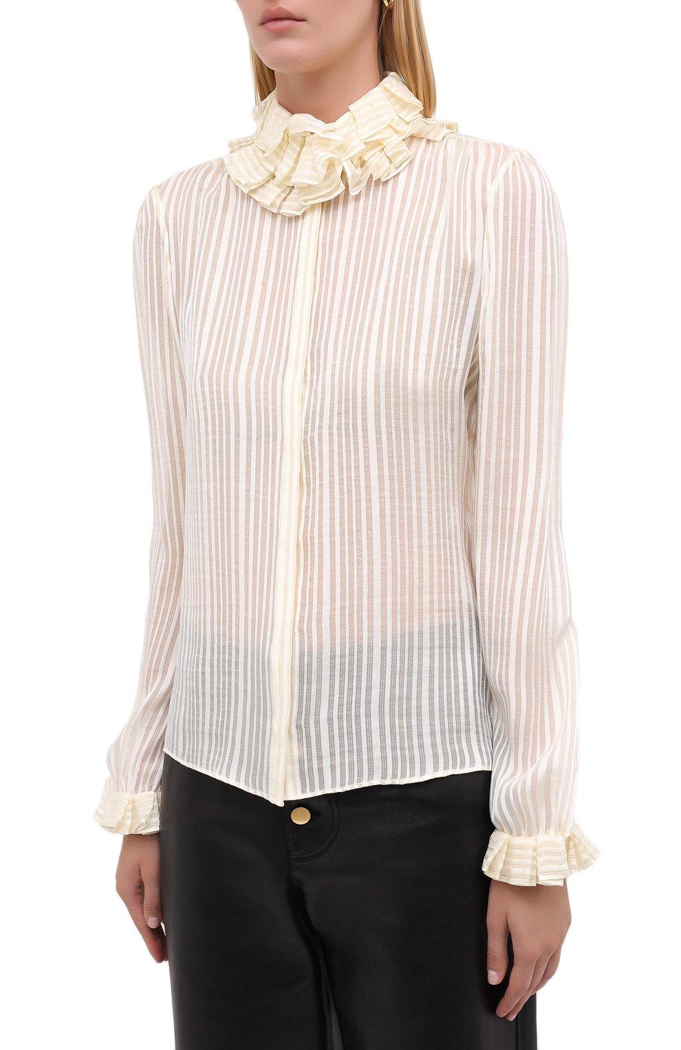 Женская шелковая блузка SAINT LAURENT белого цвета, арт. 633387/Y3B43   Фото 3