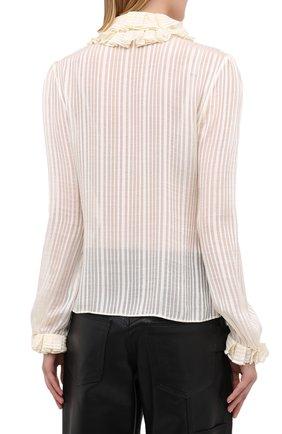 Женская шелковая блузка SAINT LAURENT белого цвета, арт. 633387/Y3B43   Фото 4