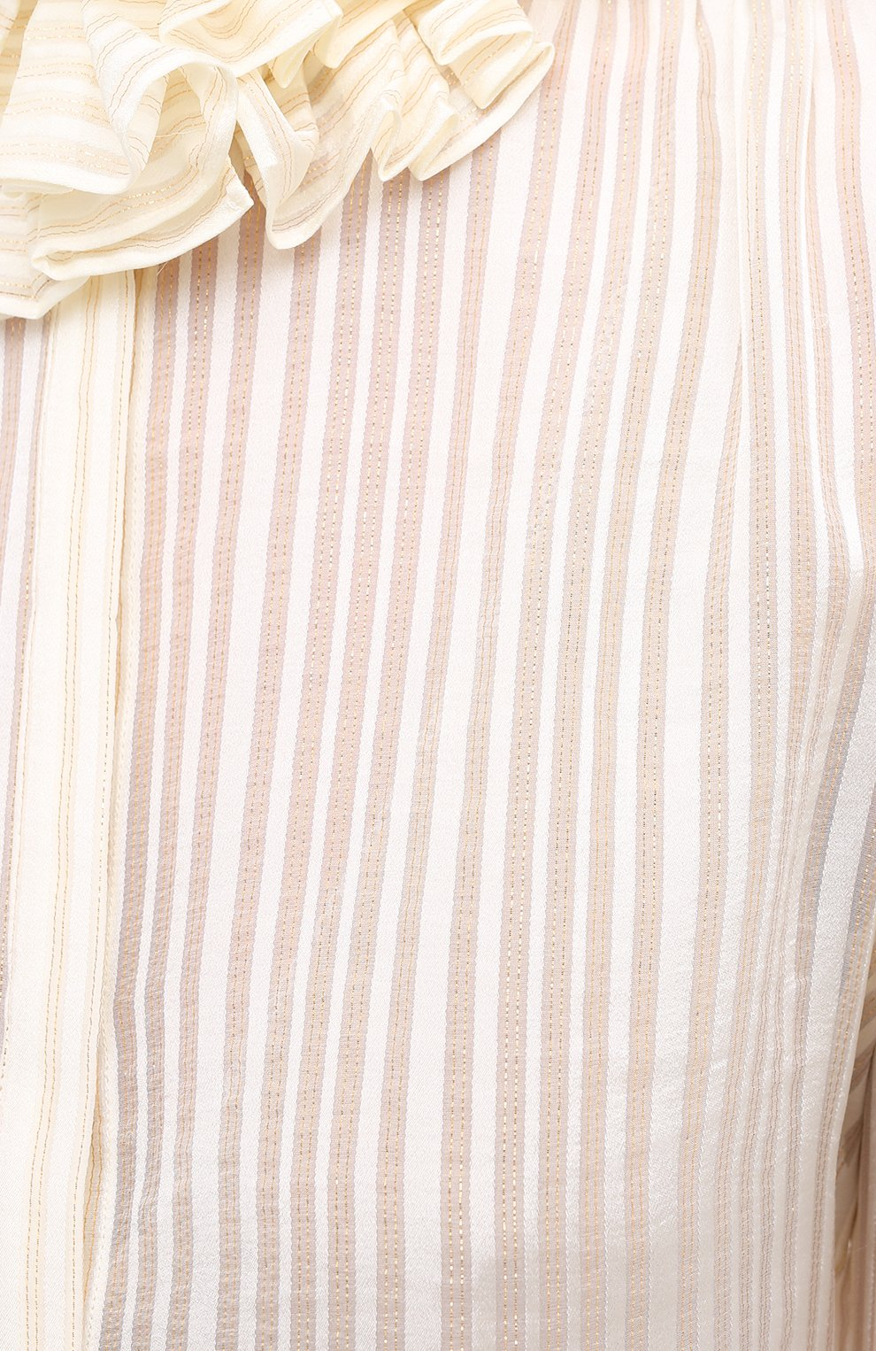 Женская шелковая блузка SAINT LAURENT белого цвета, арт. 633387/Y3B43   Фото 5