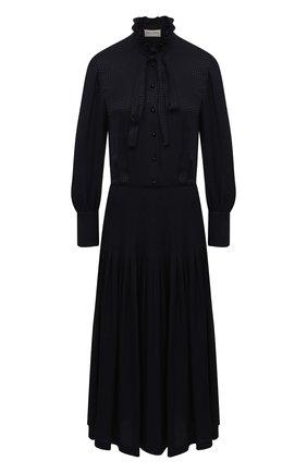 Женское шелковое платье SAINT LAURENT темно-синего цвета, арт. 632448/Y3B08 | Фото 1