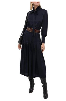 Женское шелковое платье SAINT LAURENT темно-синего цвета, арт. 632448/Y3B08 | Фото 2