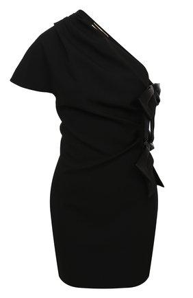 Женское платье SAINT LAURENT черного цвета, арт. 632287/Y012W   Фото 1 (Материал подклада: Шелк; Материал внешний: Шелк, Синтетический материал; Длина Ж (юбки, платья, шорты): Мини; Рукава: Короткие; Женское Кросс-КТ: Платье-одежда; Случай: Коктейльный, Вечерний)