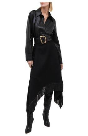 Женская юбка из шерсти и кашемира SAINT LAURENT черного цвета, арт. 630950/Y5B35 | Фото 2