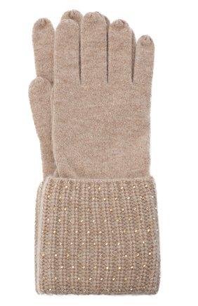Женские кашемировые перчатки WILLIAM SHARP бежевого цвета, арт. A113-1 | Фото 1