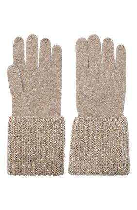 Женские кашемировые перчатки WILLIAM SHARP бежевого цвета, арт. A113-1 | Фото 2