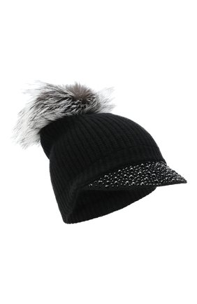 Женский кашемировая шапка WILLIAM SHARP черного цвета, арт. A119-2/SILVER F0X NATURAL | Фото 1