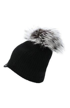 Женский кашемировая шапка WILLIAM SHARP черного цвета, арт. A119-2/SILVER F0X NATURAL | Фото 2