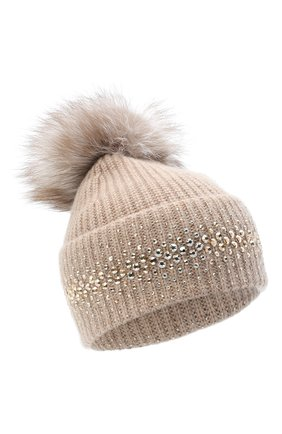 Женский кашемировая шапка WILLIAM SHARP бежевого цвета, арт. A12-13/AMBER F0X | Фото 1