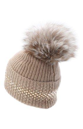 Женский кашемировая шапка WILLIAM SHARP бежевого цвета, арт. A12-13/AMBER F0X | Фото 2