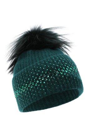Женский кашемировая шапка WILLIAM SHARP зеленого цвета, арт. A12-13/SILVER F0X DYED | Фото 1