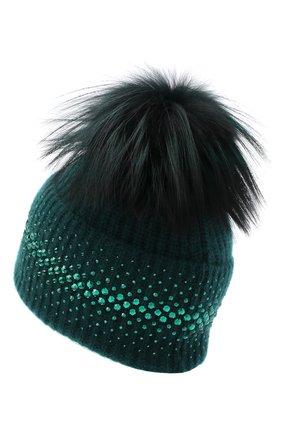 Женский кашемировая шапка WILLIAM SHARP зеленого цвета, арт. A12-13/SILVER F0X DYED | Фото 2