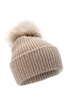 Женский кашемировая шапка WILLIAM SHARP бежевого цвета, арт. A91-2/AMBER F0X | Фото 1