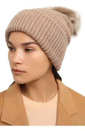 Женский кашемировая шапка WILLIAM SHARP бежевого цвета, арт. A91-2/AMBER F0X | Фото 2