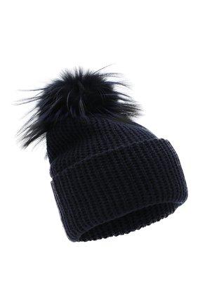 Женская кашемировая шапка WILLIAM SHARP темно-синего цвета, арт. A91-2/SILVER F0X DYED | Фото 1