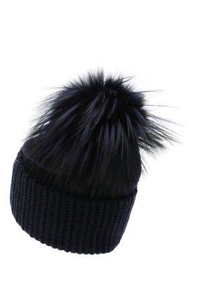 Женский кашемировая шапка WILLIAM SHARP темно-синего цвета, арт. A91-2/SILVER F0X DYED | Фото 2