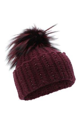 Женский кашемировая шапка WILLIAM SHARP бордового цвета, арт. A106-1/SILVER F0X DYED | Фото 1