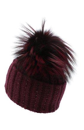 Женский кашемировая шапка WILLIAM SHARP бордового цвета, арт. A106-1/SILVER F0X DYED | Фото 2