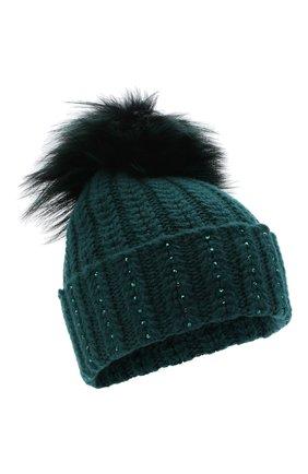 Женский кашемировая шапка WILLIAM SHARP зеленого цвета, арт. A106-1/SILVER F0X DYED | Фото 1
