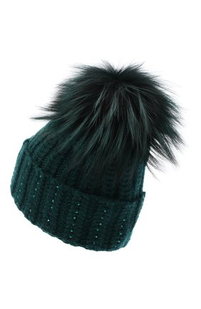 Женский кашемировая шапка WILLIAM SHARP зеленого цвета, арт. A106-1/SILVER F0X DYED | Фото 2