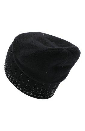 Женский кашемировая шапка WILLIAM SHARP черного цвета, арт. HT 19-52 | Фото 2