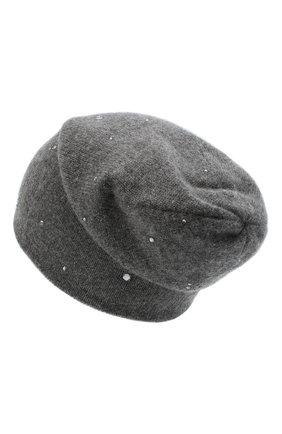 Женский кашемировая шапка WILLIAM SHARP темно-серого цвета, арт. HT 19-53 | Фото 2