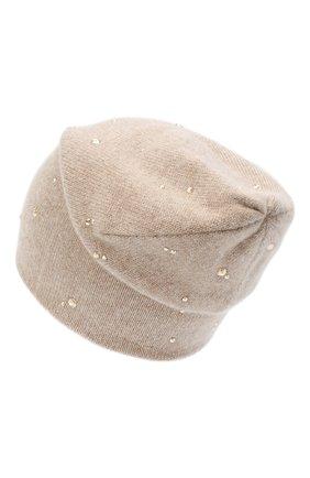 Женский кашемировая шапка WILLIAM SHARP бежевого цвета, арт. HT 19-53 | Фото 2