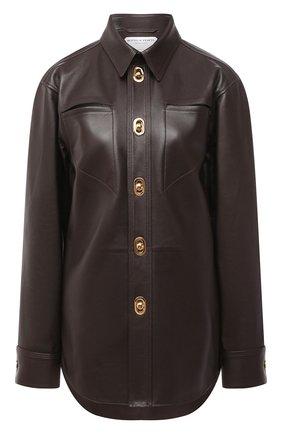 Женская кожаная рубашка BOTTEGA VENETA коричневого цвета, арт. 630720/VKV90 | Фото 1