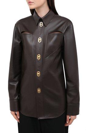Женская кожаная рубашка BOTTEGA VENETA коричневого цвета, арт. 630720/VKV90 | Фото 3