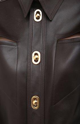 Женская кожаная рубашка BOTTEGA VENETA коричневого цвета, арт. 630720/VKV90 | Фото 5