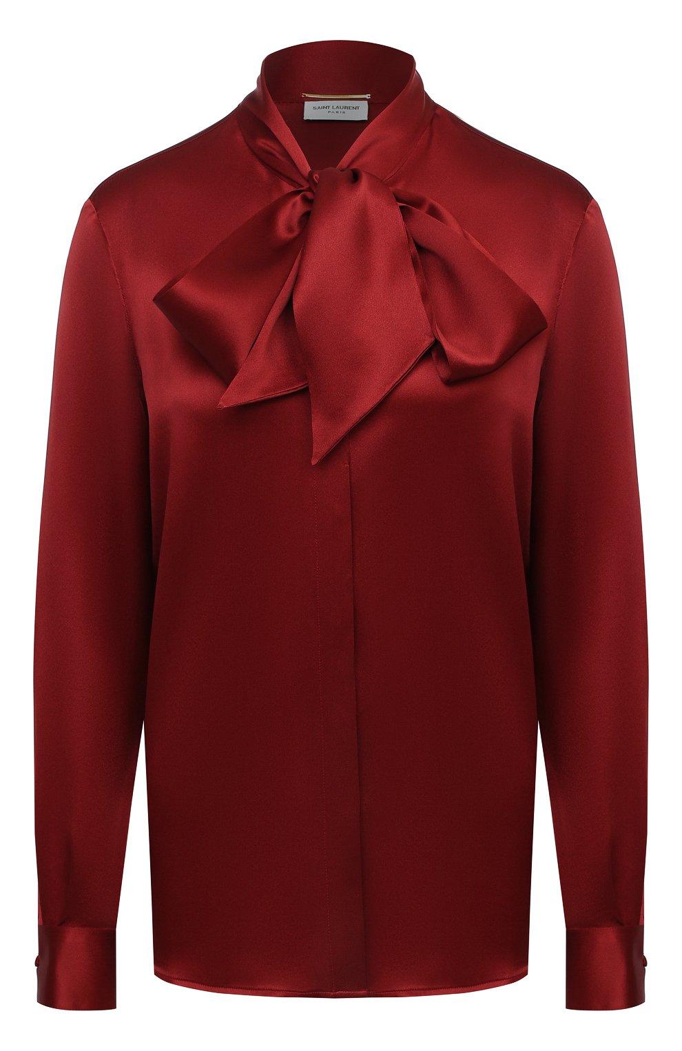 Женская шелковая блузка SAINT LAURENT красного цвета, арт. 635897/Y2B43   Фото 1 (Материал внешний: Шелк; Рукава: Длинные; Принт: Без принта; Длина (для топов): Стандартные; Женское Кросс-КТ: Блуза-одежда)