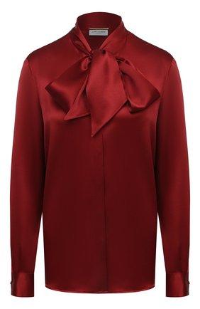 Женская шелковая блузка SAINT LAURENT красного цвета, арт. 635897/Y2B43 | Фото 1
