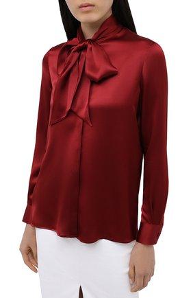 Женская шелковая блузка SAINT LAURENT красного цвета, арт. 635897/Y2B43   Фото 3 (Материал внешний: Шелк; Рукава: Длинные; Принт: Без принта; Длина (для топов): Стандартные; Женское Кросс-КТ: Блуза-одежда)
