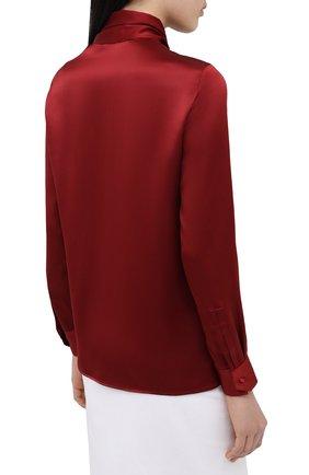 Женская шелковая блузка SAINT LAURENT красного цвета, арт. 635897/Y2B43   Фото 4 (Материал внешний: Шелк; Рукава: Длинные; Принт: Без принта; Длина (для топов): Стандартные; Женское Кросс-КТ: Блуза-одежда)
