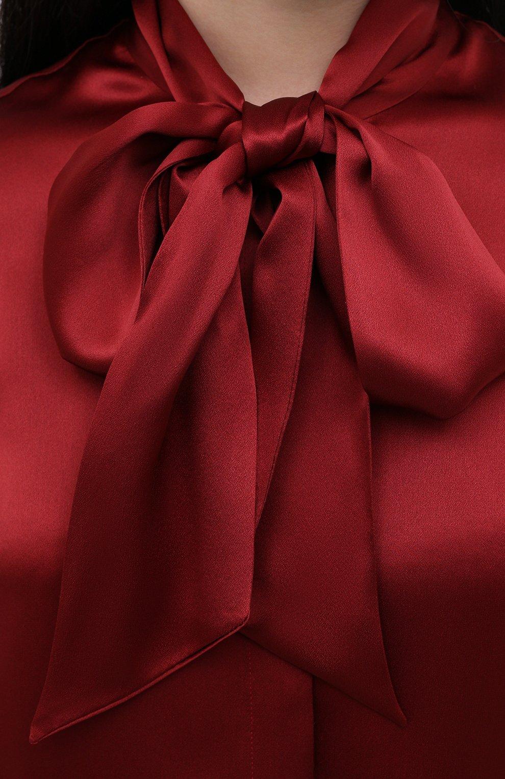Женская шелковая блузка SAINT LAURENT красного цвета, арт. 635897/Y2B43   Фото 5 (Материал внешний: Шелк; Рукава: Длинные; Принт: Без принта; Длина (для топов): Стандартные; Женское Кросс-КТ: Блуза-одежда)