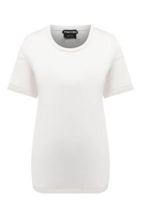 Женская футболка из шелка и шерсти TOM FORD белого цвета, арт. TSJ399-FAX544 | Фото 1