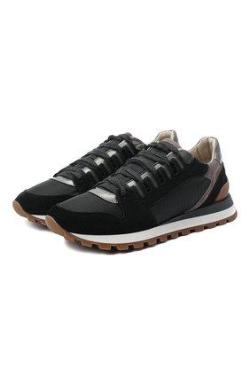 Женские комбинированные кроссовки BRUNELLO CUCINELLI черного цвета, арт. MZSFG1968 | Фото 1